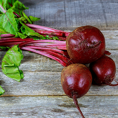Beetroot on a wooden counter.
